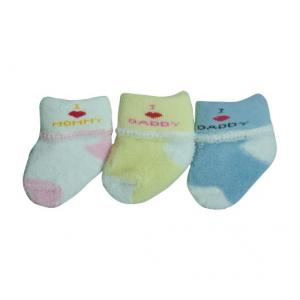 China Custom color soft comfortable cotton terry Infant's socks on sale