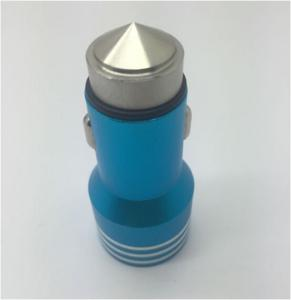 China 15W Blue Dual USB Car Charger , Compact Mobile Phone Car Chargers on sale