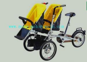 Yellow Plastic Baby Stroller Folding Bike With Twin Baby Seat for ...