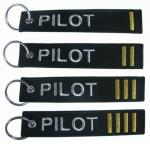 Metallic Gold Pilot Embroidered Fabric Keychain 100% polyester  Eco - friendly