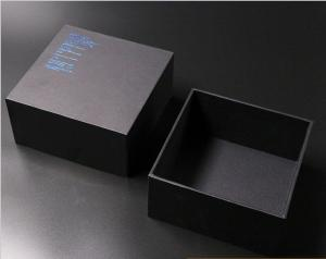 China Customized black matte hot foil logo packaging boxes base and lid box wholesale on sale