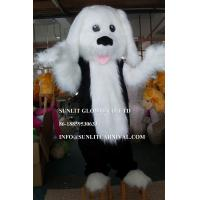 long plush fabric white dog mascot costume, advertising dog mascot costume