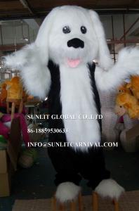 China long plush fabric white dog mascot costume, advertising dog mascot costume on sale
