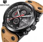 Benyar Men Fashion Genuine Leather Band Hollowed Dial Waterproof 30m Chronograph Quartz Watch BY-5110