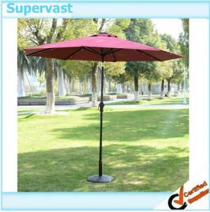 China Multi Color Solar Patio Umbrella , Stainless Steel Pole LED Beach Umbrella on sale
