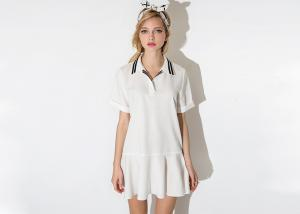 China Polo Ladies Flared Dress Striped Varsity Collar With Plus Size on sale