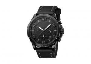 China Waterproof Chronograph Wrist Watch Genuine Leather Strap Stainless Steel Screw Crown on sale