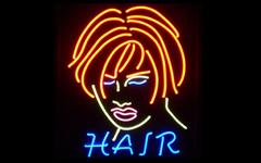 China The most eye - catching blue / white / yellow personalized neon sign HAIR on sale