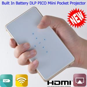 China Built In Battery Mini Handy PICO DLP Projector With HDMI USB DLNA Wifi For PPT Display on sale