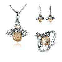 Lovely Honeybee Animal 925 Sterling Silver Jewelry Sets / Necklace Earring Ring Sets