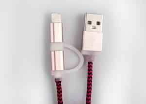 China Nylon Braided Charging Cable in Red Color / Multifunction / Metal Jacket on sale