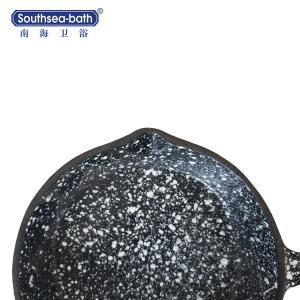 China Hot Sale New Design Black with White dot Enamel Cast Iron Skillet on sale