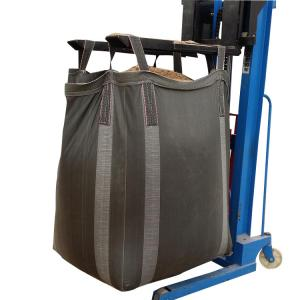 China PP Woven Fibc Packing 1 Ton Bulk Bag Black Cross Corner Available Side Discharge Design on sale