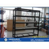 Height Adjustable Warehouse Shelving Racks , Black Wrinkle Medium Duty Shelving