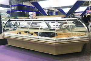 China Front Sliding Glass Deli Display Fridge with 90 Degrees Corner Stylish Design supplier