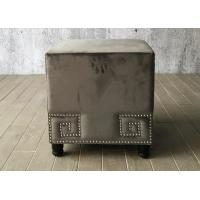 China Velvet Fabric Bedroom Ottoman Bench Cube For End Bed , Grey Color on sale
