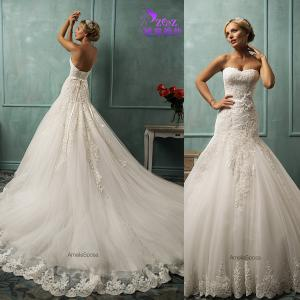 China Gogeous Amelia Sposa CJ-0559 A-line Strapless Lace Appliqued Tulle Bridal Muslim Wedding Gown on sale