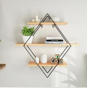 China Three-tier Vintage Iron Metal Wood Wall Storage Shelf Rack Rhombus Iron Craft Wall Book Hanging Rack Room DIY Wall Decor on sale