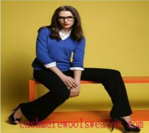 China Lady Cashmere V Neck Sweater on sale