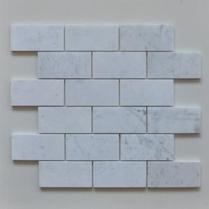 China Large Decorative Marble Mosaic Subway Tile Beveled Mesh For Tea Room on sale