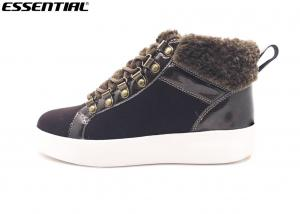 China High Top Sneaker Cow Suede Boots Fur Collar And Tongue Chocolate Color on sale