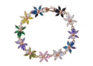 China 14K Gold Plated Sterling Silver Flower Bracelet Highly Polished With Colorful Zircon on sale