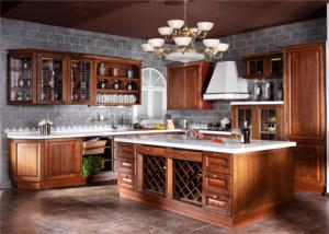 China Contemporary L Shaped Kitchen Cabinets With Glass Door And Red Paint Island on sale