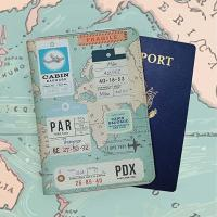 World Map Travel Card Holder Stitching Technics With Artificial Leather Cover