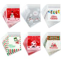 PE SELF ADHESIVE CLEAR CHRISTMAS CELLOPHANE TREAT BAGS FOR PACKAGING CANDY OR COOKIE
