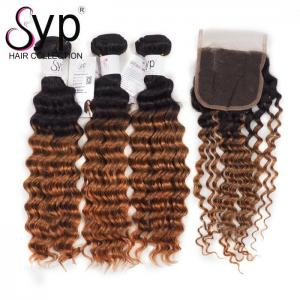 China 1B 30 Deep Wave Ombre Two Tone Hair Weave Bundle With Swiss 4*4 Lace Closure on sale