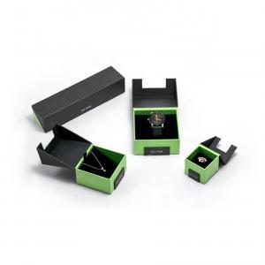 China Green And Black Custom Jewelry Packaging / Special Shape Watch Storage Box on sale