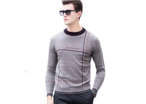China Crew Neck Mens Pullover Sweater Striped Pattern Intarsia Design For Winter on sale