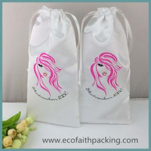 China soft white satin drawstring gift bag with silk screen logo printing satin hair bag on sale