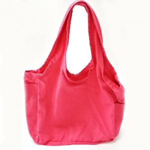 China Pink 12oz Reusable Shopping Bags / Cotton Canvas Tote Bags with Customized Logo on sale