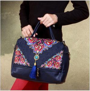 China 3 ways women bag shoulder bag messenger bag and backpack embrodery handmade bag with tassle on sale