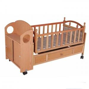 Customized Wooden Automatic Baby Swing Bed Crib , Baby Sleeping Cot