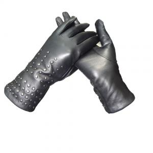 China Black Ladies Dress Womens Soft Leather Gloves Semi Alinine With Rivet supplier