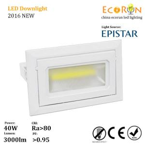China 3000k 4000k 5000k 30w 40w cob rectangular downlight ceiling adjustable with ce approved on sale
