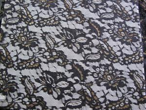 China Eco Friendly Lace Metallic Nylon Fabric For Apparel Black CY-LW0219 on sale