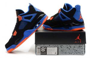 China cnmall66.com wholesale cheap Air Jordan 4 Perfect Black Blue Orange on sale
