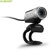 Ausdom Hot Selling AW615 Plug And Play Adjustable Manual Focus HD 1080P USB Webcam With Microphone for PC Laptop Desktop