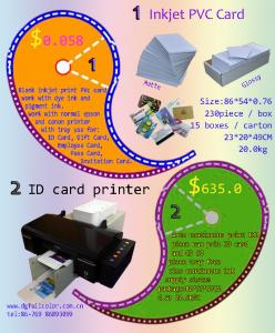 China FullColor Free Samples 86 * 54 * 0.76 mm Inkjet Printable PVC ID Card for Wholesale Price on sale