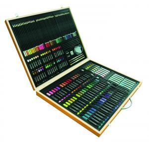 China art set &165pcs stationery set in wood box w/shrink wrap&set of 53pcs England easel on sale