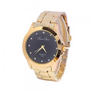 China Golden Alloy Black / White Dial Mens Quartz Watches Business Type Geneva Quartz on sale
