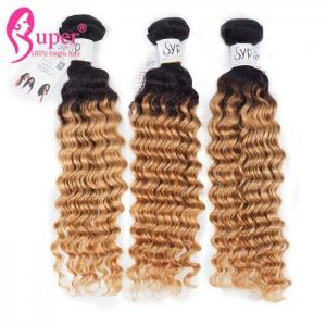 China Thick And Full End Blonde Ombre Hair Extensions / Deep Wavy Curly Long Hair Weave on sale