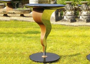China Beautiful Bird Drinking Bowl Contemporary Outdoor Metal Sculpture Customized Size on sale