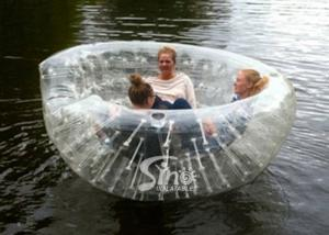 China 3 Persons Bowl shape pool N river transparent inflatable floating sofa for kids N adults outdoor on sale