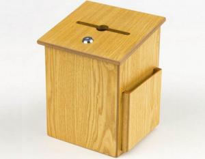 China Wooden Suggestion Box w/ Sign Holder, Side Pocket, Wall or Counter on sale