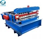 Blue Automatic Cutting Machine With Leveling Rollers And Hydraulic Cutting Devices