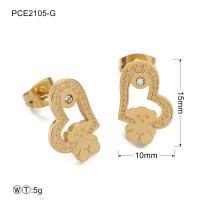 Gold Plated Stainless Steel Heart Earrings / Lady Jewelry Diamond Earrings